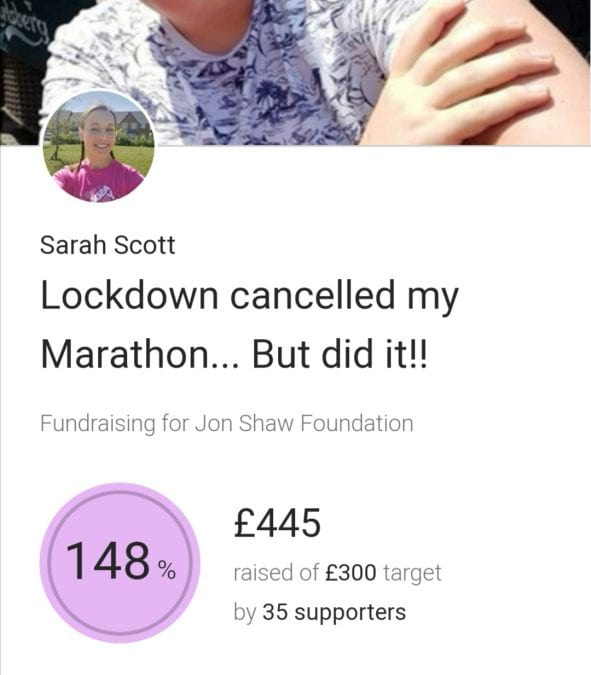 Despite scorching temperatures, Sarah completed her marathon…